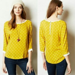 Anthropologie | Maeve Yellow Blouse Size 12
